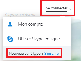 s'inscrire à skype