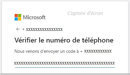saisir le code reçu sur votre téléphone