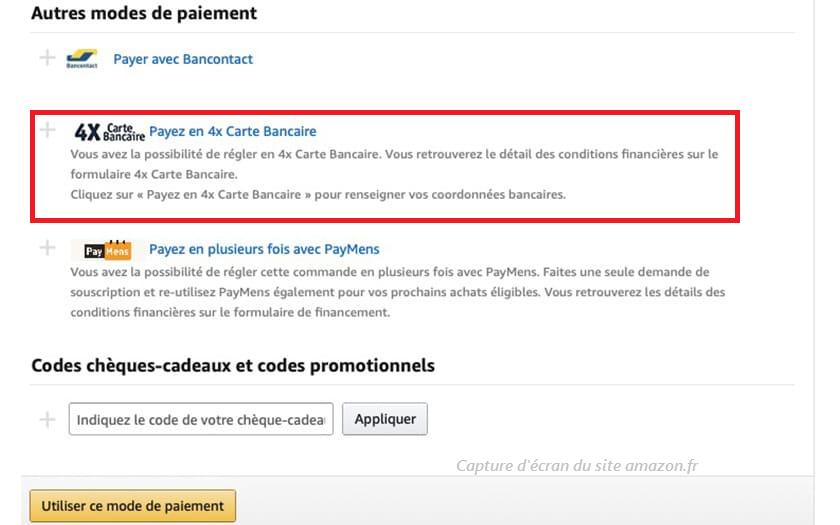 paiement sur Amazon : payer en 4 fois