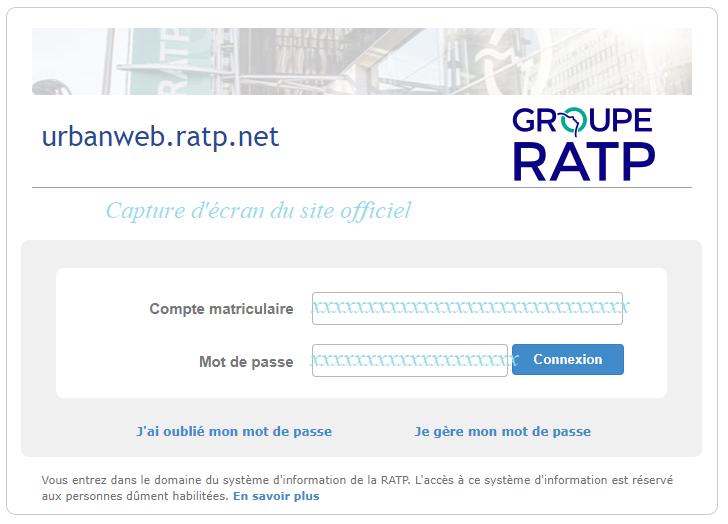 service d'authentification du groupe RATP